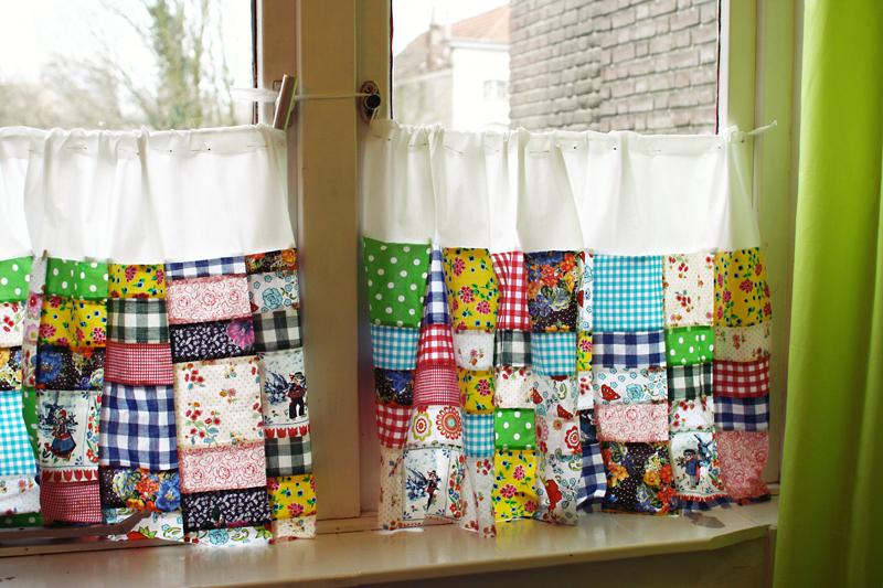 Badkamer Gordijnen Ideeën : Patchwork Window Curtains