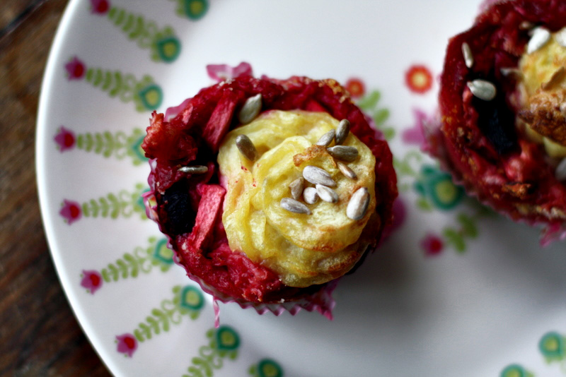Vegan potato-beet-apple muffins
